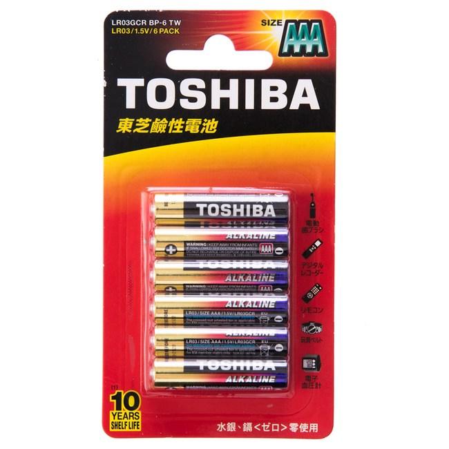 TOSHIBA 東芝 鹼性4號6入卡 AAA 1.5V 型號LR03