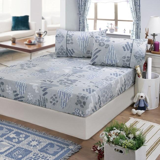【FITNESS】精梳棉加大床包+枕套三件組-塗鴉樂(藍)