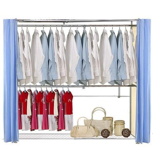 巴塞隆納─AH-41伸縮衣櫥 前布簾水藍色不織布