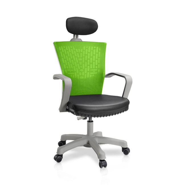 【SYNIF】韓國原裝Unique高背網布辦公椅(灰白框)-綠