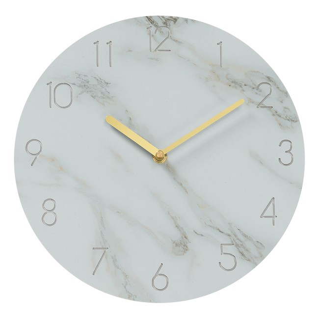 樂嫚妮 仿大理石紋掛鐘/時鐘/11吋/低噪-(2色)白