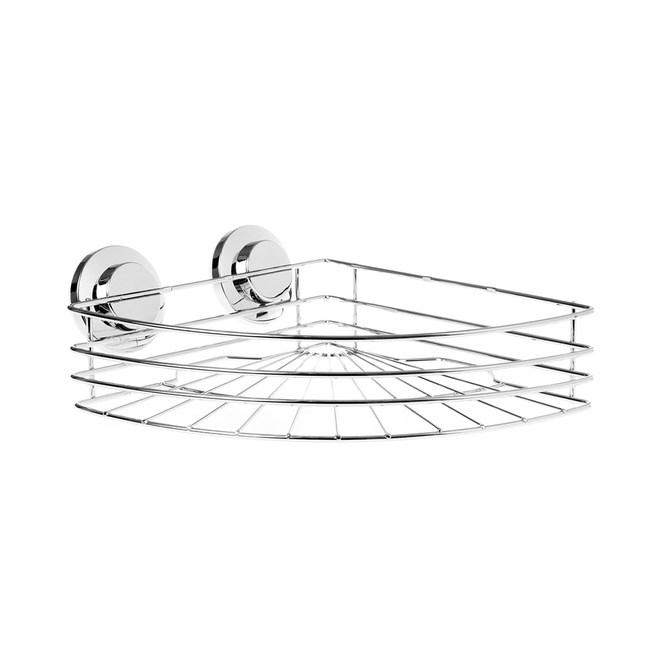 超強力真空吸盤鍍鉻衛浴扇型收納架