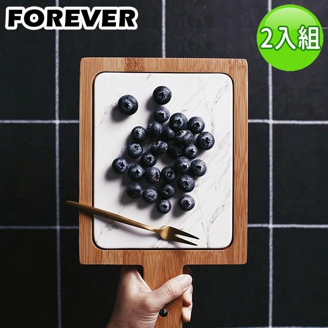 【日本FOREVER】北歐時尚竹製大理石輕食盤/附柄托盤(17X28)