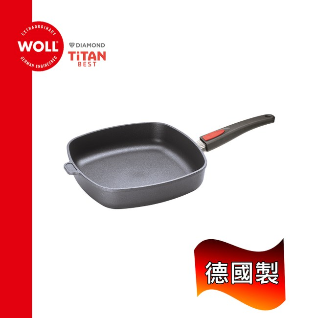 《WOLL》德國歐爾 - 鈦鑽系列28cm鑄造不沾方型平底鍋(1628TBB)