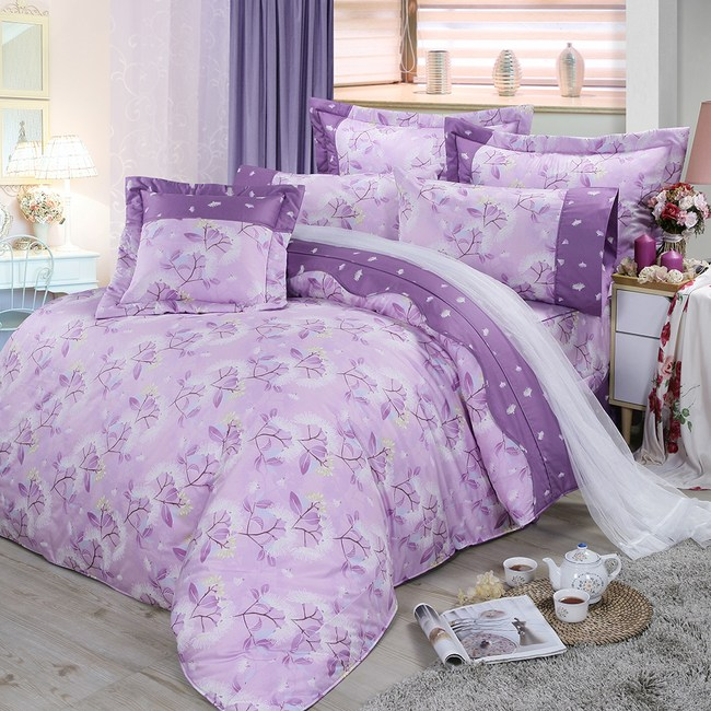 【FITNESS】精梳棉加大七件式床罩組-蒲花戀曲(紫)