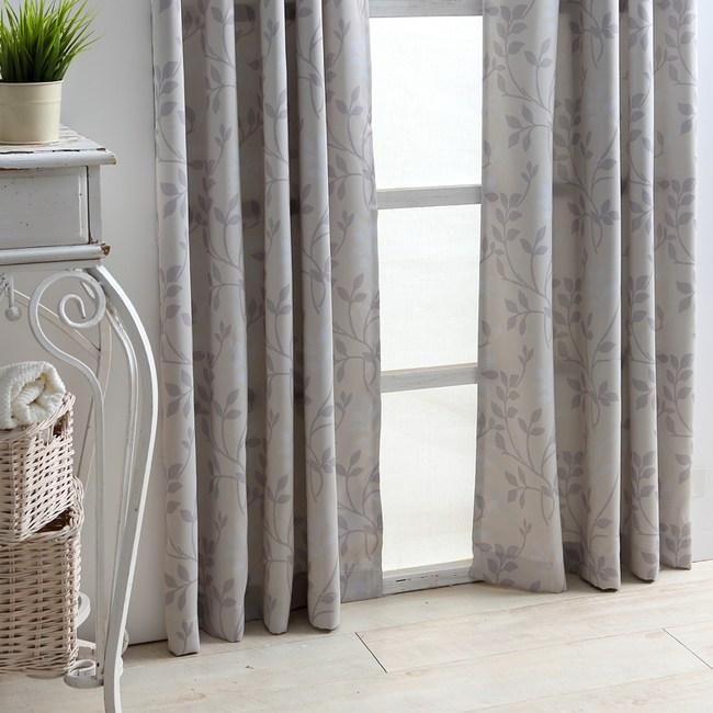 超值麗光緞印花遮光窗簾 印葉風格款 290x240cm