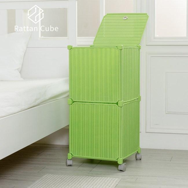 【藤立方】組合移動式洗衣籃 (附輪)-綠色-DIY