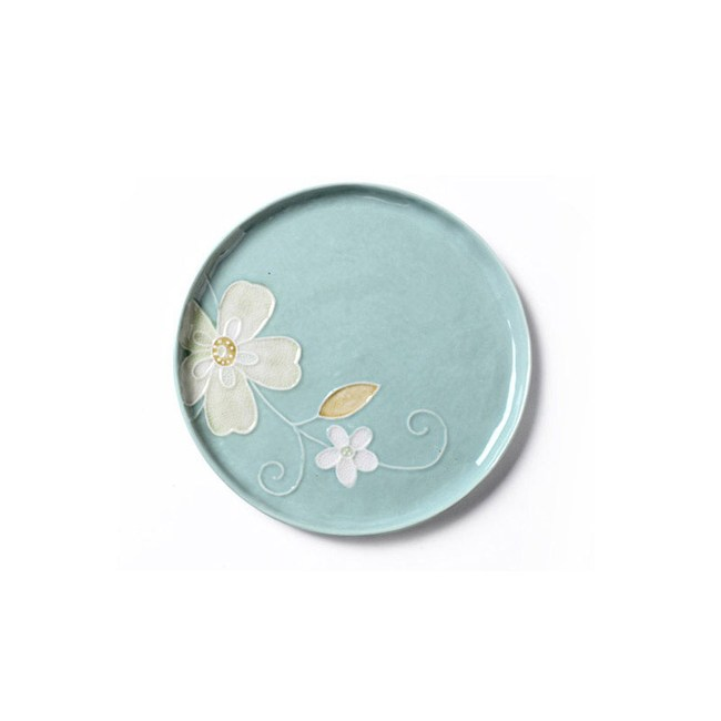 創意日式手繪餐具 6.8英吋平盤藍色