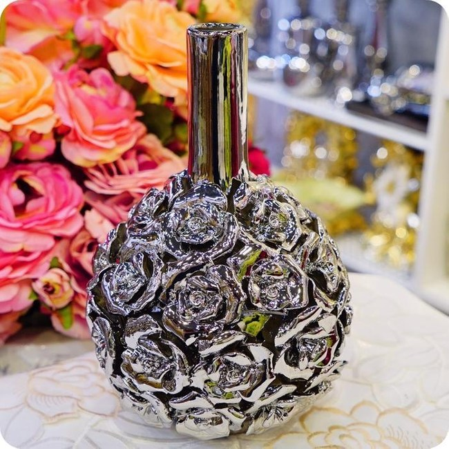 HONEY COMB 陶瓷立體鍍銀玫瑰花器 FB144