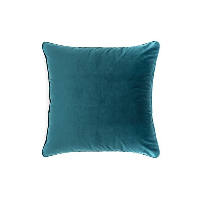 HOLA 素色短絨滾邊抱枕60x60cm 森綠咖
