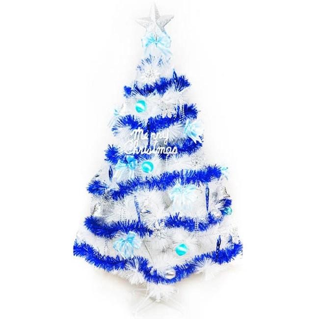 摩達客 台製15尺特級白色松針葉聖誕樹+藍銀色系配件(不含燈)