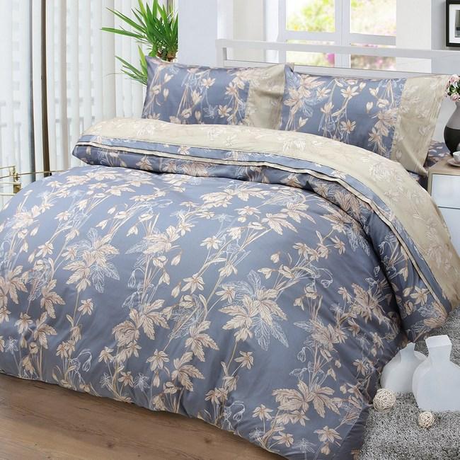 【FITNESS】精梳棉雙人加大四件式被套床包組--緲緲煙花(灰藍)6*6.2