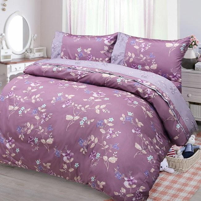 【FITNESS】精梳棉雙人四件式兩用被床包組-馬格森特(紫紅)5*6.2