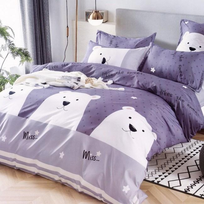BUTTERFLY-柔絲絨卡通枕套床包三件組-白熊點點(加大)