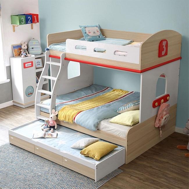 林氏木業創意兒童單人加大4尺雙層床EQ2A-A(含拖床,不含床墊及梯櫃)