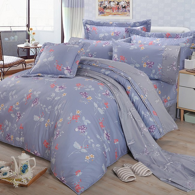 【FITNESS】精梳棉雙人特大七件式床罩組-馬格森特(灰藍)6*7