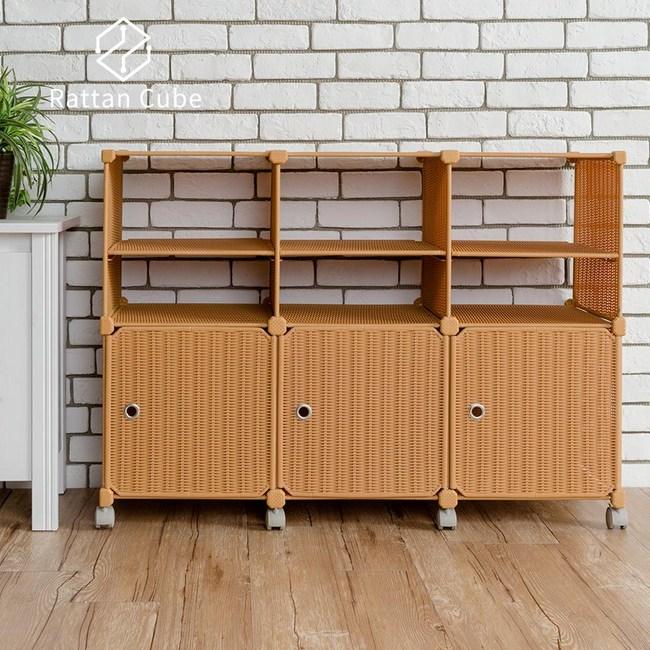 【藤立方】組合2層6格收納置物架(3門板+3隔板+附輪)-蜂蜜色-DIY