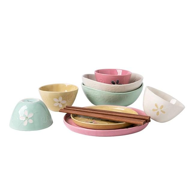 家用創意手繪陶瓷餐具-雅韻12件套