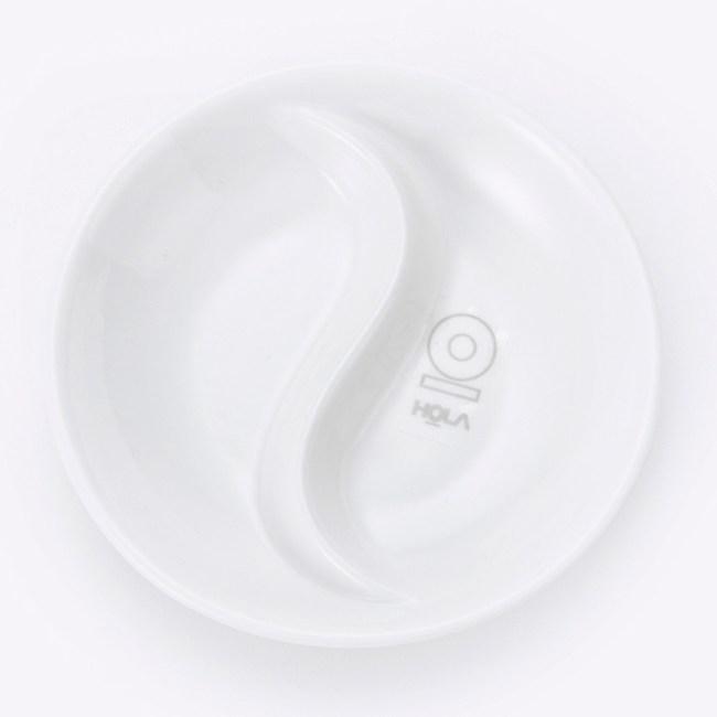 HOLA 雅堤圓型雙格調味碟 10cm 可適用烤箱/微波爐/洗碗機