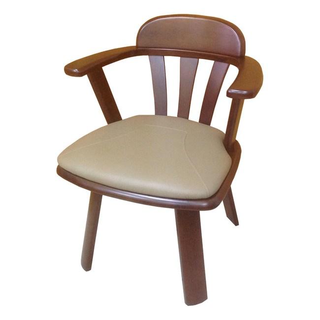 【YFS】Alice胡桃色皮面實木餐椅-46x46x74cm
