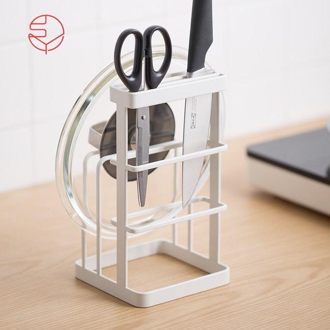 【日本霜山】一體成型金屬瀝水砧板刀具收納架-白單一規格