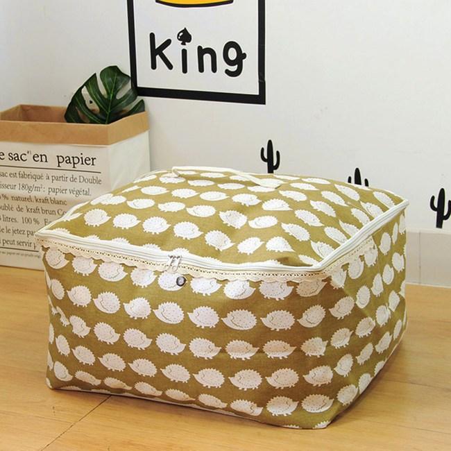 【收納職人】衣物棉被大容量防水防塵袋收納袋收納箱50L-綠底小刺蝟