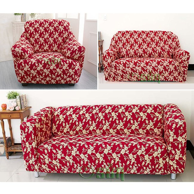 【Osun】圖騰系列-1+2+3人座一體成型防蹣彈性沙發套、沙發罩紅色金盞花