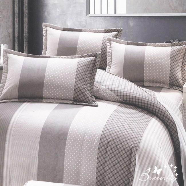 【BUTTERFLY】台製40支紗純棉-加高38cm薄式雙人床包枕套三件組