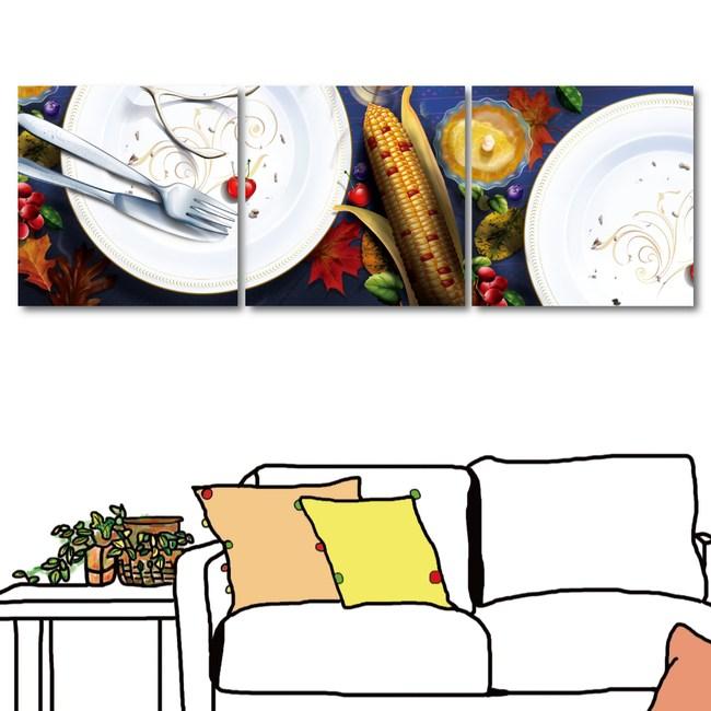 橙品油畫布-三聯式 餐廳佈置 掛畫 無框畫 40x40cm三聯式