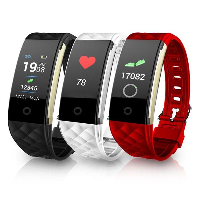 S6彩屏觸控生活防水心率手環黑色