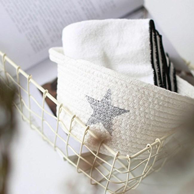 【收納職人】簡約北歐手感棉線編織五角星小物置物籃(隨機不挑色2入組)