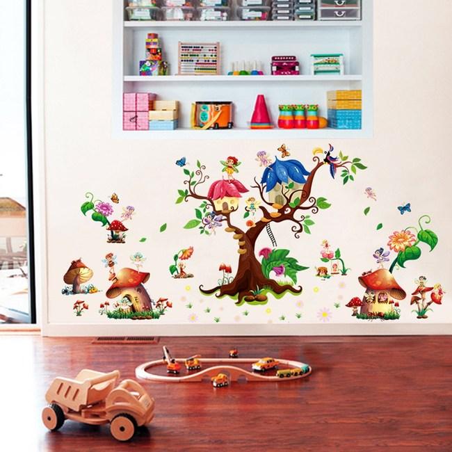 【Loviisa 蘑菇森林】無痕壁貼 壁紙
