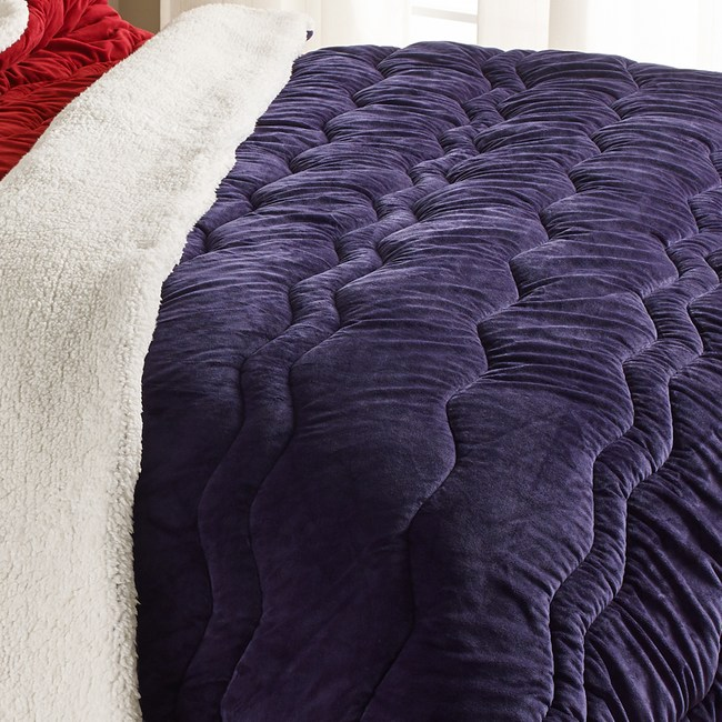 時尚雙面絨保暖毯 寶藍色款