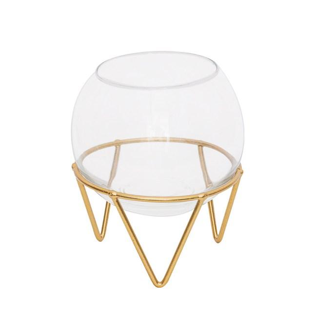 北歐ins風金屬玻璃燭杯
