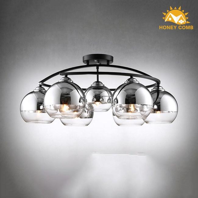 HONEY COMB 工業風電鍍玻璃半吸頂6燈 TA7661R