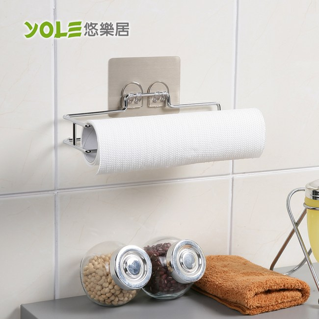 【YOLE悠樂居】無痕貼鍍鉻廚房紙巾架#1132039