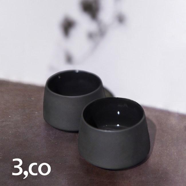 【3 co】水波提樑小杯-黑(2件式)