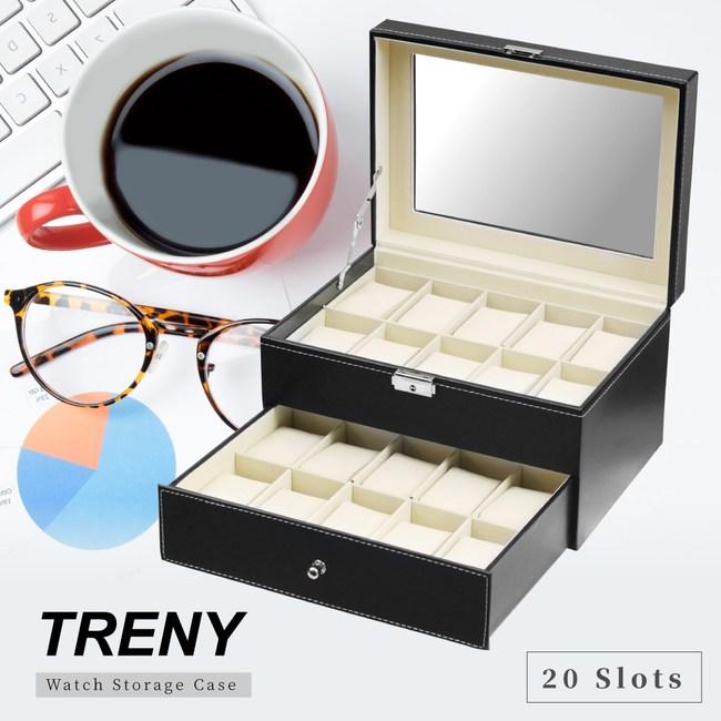 TRENY 20位 雙層 手錶收納盒 - 經典皮革