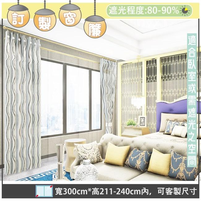 【宜欣居傢飾】威尼斯水岸-訂製窗簾-米W300*211-240cm內