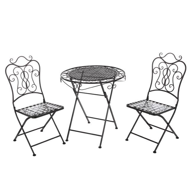 布拉格鐵製一桌二椅組-黑色