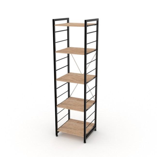(組)特力屋萊特五層架黑框/淺木紋-40x40x158cm