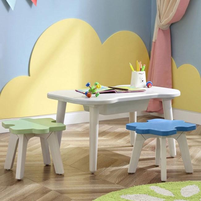 林氏木業童趣星空實木兒童學習遊戲桌椅組(一桌二椅)EC1G