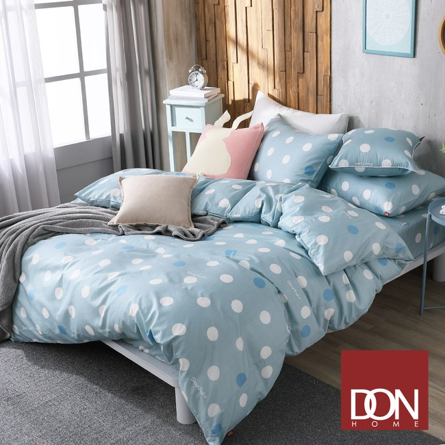 DON極簡日常 雙人四件式200織精梳純棉被套床包組-圓點-薄荷綠