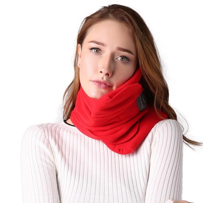 PUSH!旅遊用品超軟頸部支撐機上枕紅色S57-1紅色