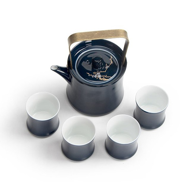 梅花霽藍一壺四杯茶具套裝