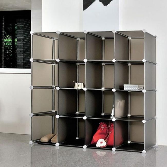 【H&R安室家】16格無門收納櫃-12吋百變組合櫃綠色
