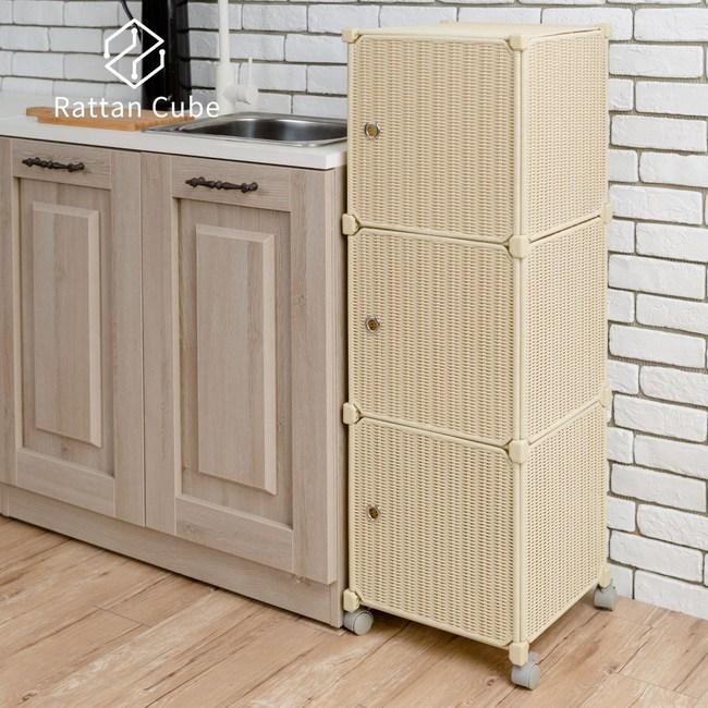 【藤立方】組合3格收納置物櫃(3門板+附輪)-自然色-DIY
