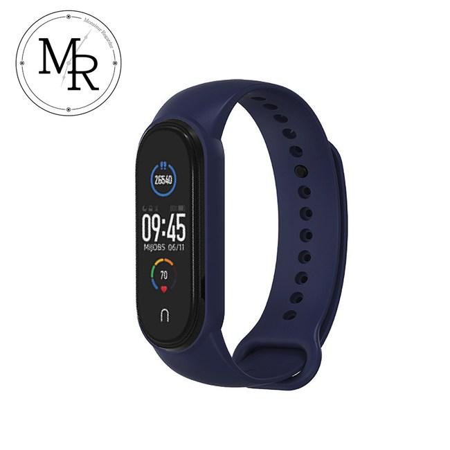 MR 小米手環5單色運動防水矽膠替換錶帶(午夜藍)