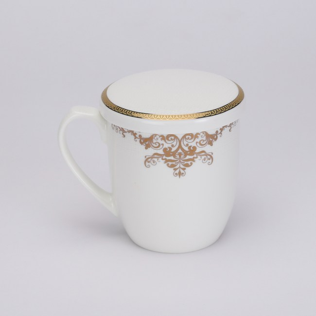 金色盛宴骨瓷馬克杯附蓋375ml