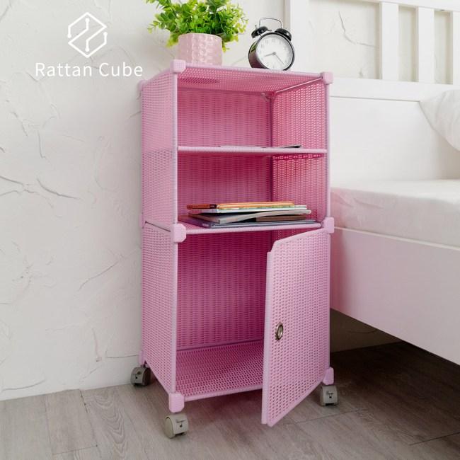 【藤立方】組合2層置物架(1門板+1層板+附輪)-粉紅色-DIY